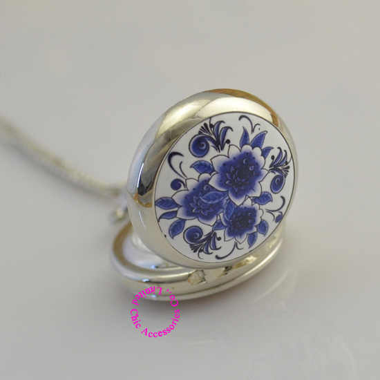 women girl lovers' silver lady classic blue flower pocket watch necklace fashion casual analog hour antibrittle brand