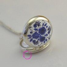 Amoureux des femmes de fille argent dame classique bleu fleur montre de poche collier de mode casual analogique heure antibrittle marque