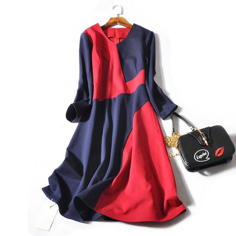 d2a86c60725 Haute-Qualit-Femmes-Nouveau-Automne-Piste-Designer-Robe-2018 -Couleur-Hit-V-cou-Col-Manches-Longues.jpg