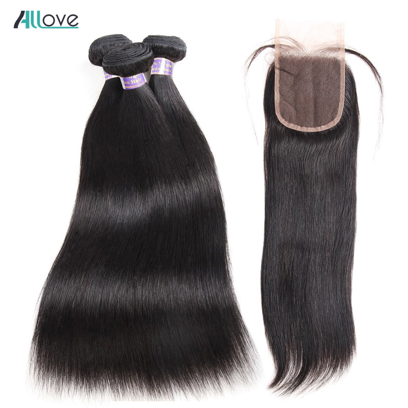Peruvian Straight Hair With Closure Natural Color Human Hair Bundles With Closure Deals Allove Non Remy