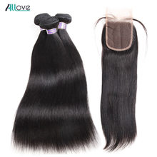 Peruvian Straight Hair With Closure Natural Color Human Hair Bundles With Closure Deals Allove Non Remy Bundle With Lace Closure(China)