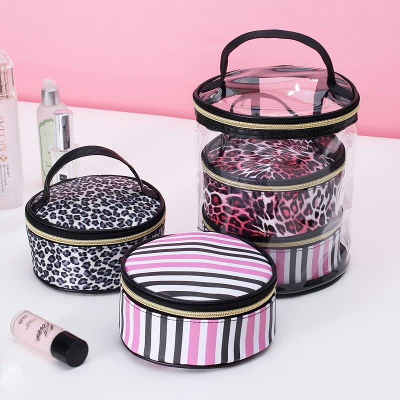 3PC Women Transparent Bag Cosmetic Bag Multifunction Waterproof PVC PU Leather Organizer Travel Beauty Makeup Bag