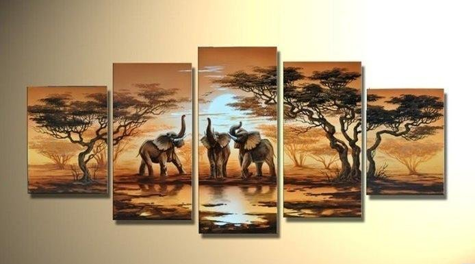 WEEN Handmade African Elephant Oil Painting Wall Pictures On Canvas Modern Animal Module Painting Home Decoration Artwork