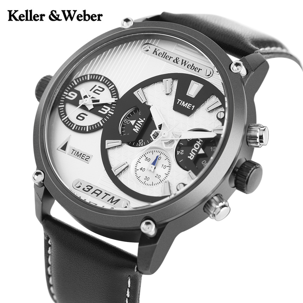 Keller&Weber Top Luxury Brand Quartz Men's Watch KW Dual Time Zone 3ATM Waterproof Men Military Sports Outdoor Wristwatch цена