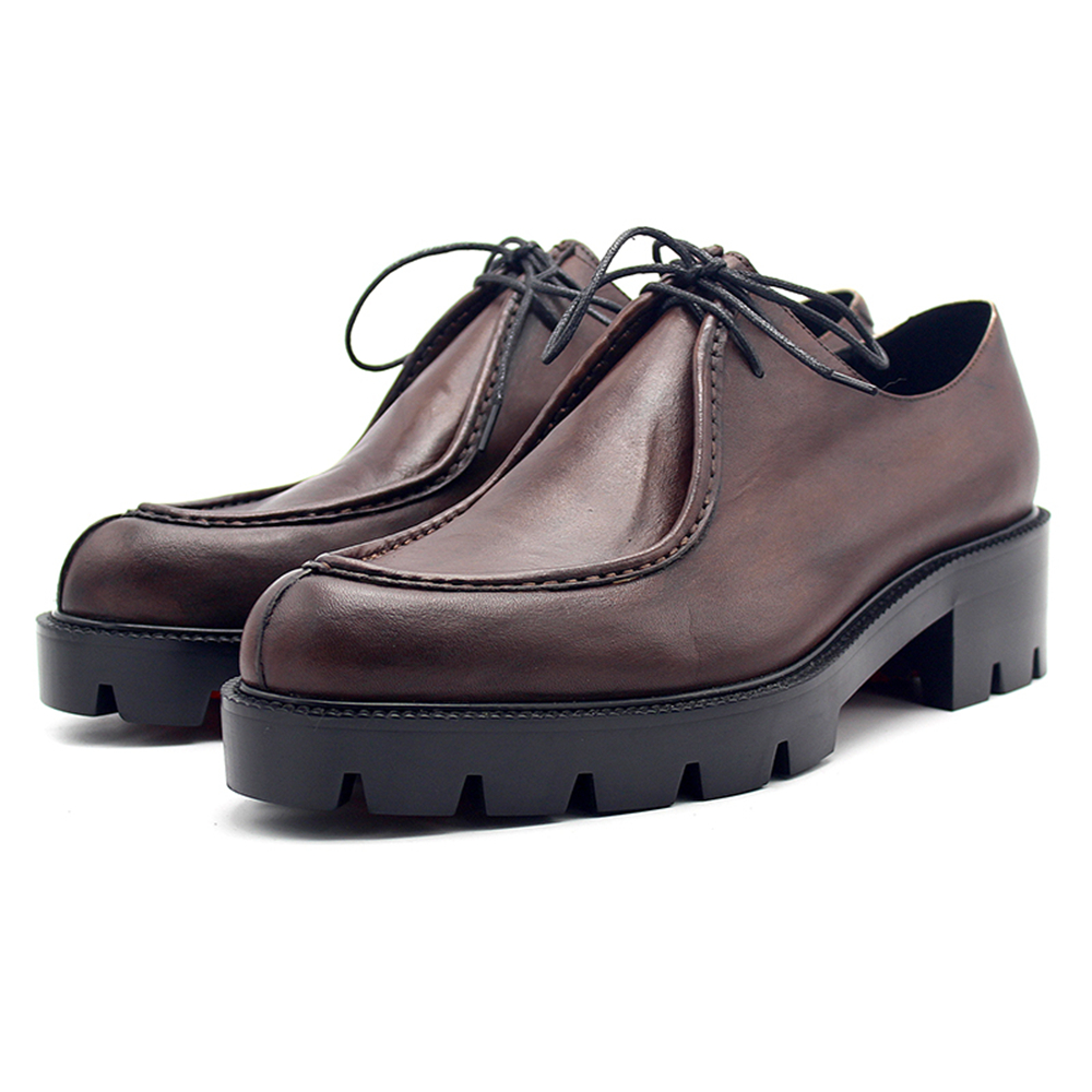 Brown pointed thick bottom two leather strap font b men s b font font b shoes