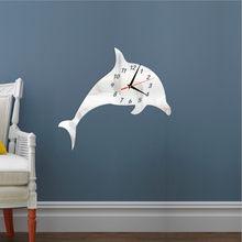 688dd6c7bd37e Creative Dolphin Mirror Wall Sticker Removable Decorative Clock Mirror Wall  Clock for Living Room Bedroom Mural