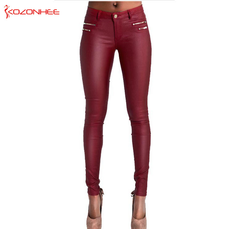 Low Waist Women PU Leather Pants Stretch Red Wine Skinny Pants Female Elasticity Women's Tights Pencil Pants Plus Size