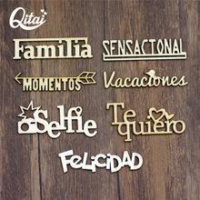 QITAI 21 sztuk zestaw 7 Model hiszpański słowa każda litera 3 sztuk rękodzieło prezent dekoracja z drewna kolor drewna drewniane słowa zestaw WF266 tanie tanio Litery Europa 7 9cmx4cm 8 3cmx1 9cm 7 8cmx3 9cm 8 1cmx2 1cm 8 4cmx2 1cm 8 4cmx1 8cm 8 2cmx2 5cm wooden letters for decorations
