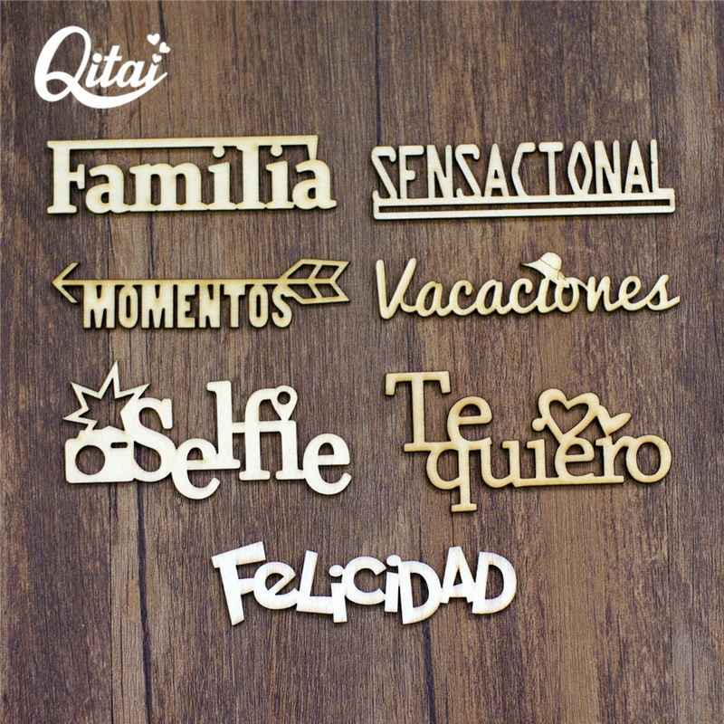 QITAI 21PCS/SET 7 Model Spanish Words Each Letter 3 Pieces Handicraft Gift Wood Decoration Wood Color Wooden Words Set WF266