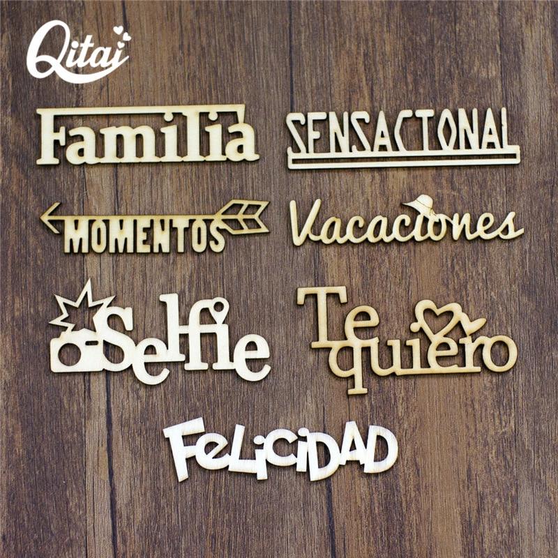 QITAI 21PCS/SET 7 Model Spanish Words Each Letter 3 Pieces Handicraft Gift Wood Decoration Wood Color Wooden Words Set WF266