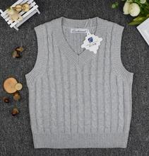 Boys sweaters spring and autumn pullover V-neck cotton solid color campus style vest sweater