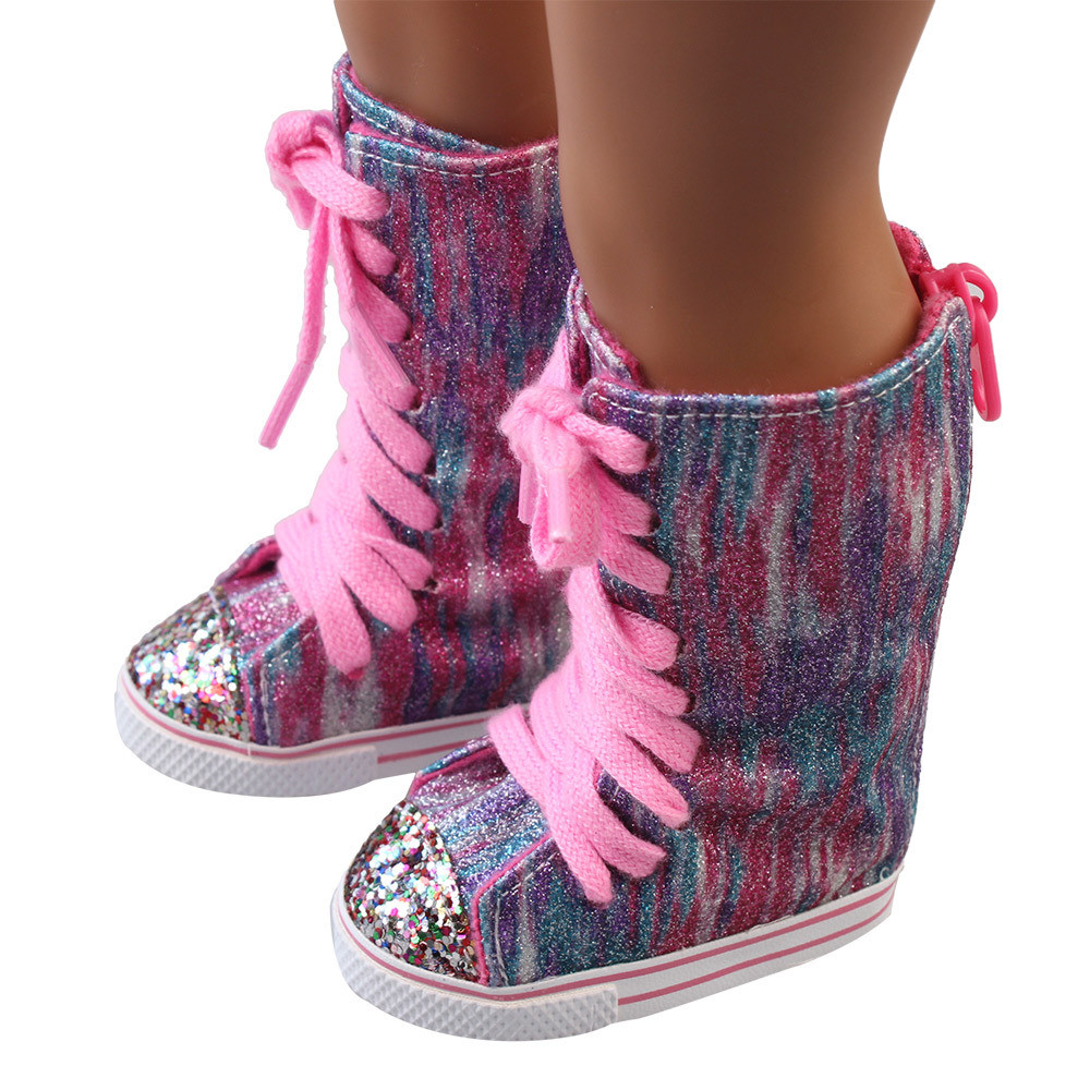 Baby Born Cool Fashion Glitter Doll Shoes Straps Boots For 18 Inch Our Generation American Girl Doll glitter doll shoes star dress shoe for 18 inch our generation american girl doll