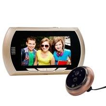 TEQStone Doorbell Digital Peephole Viewer 3MP Night Vision 4.3″ TFT Color Screen Golden