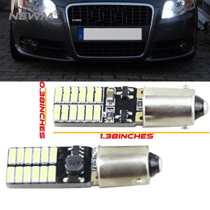 4хавтомобиль под руководством ba9s н6вт т4w ba9s т11 canbus автомобиля с 24 SMD 4014 светодиодная Лампа нет ошибок светодиодные парковка стайлинга автомобилей Противотуманные фары авто лампы универа