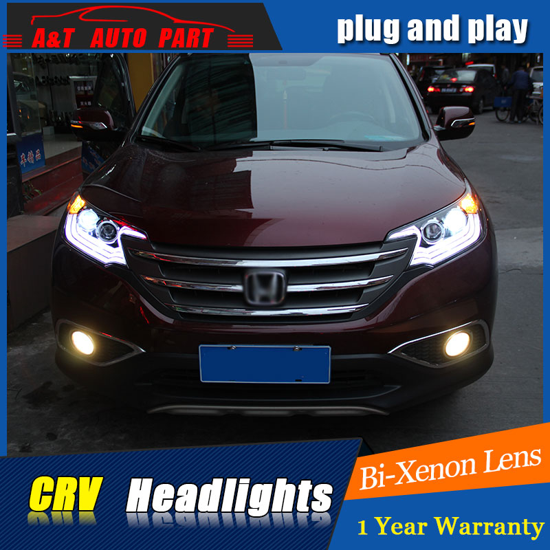 Auto.Pro Car Styling for Honda CRV LED Headlights 2012 Lexus Style DRL Lens Double Beam H7 HID Xenon bi xenon lens car styling for honda crv headlights u angel eyes drl 2012 for honda crv led light bar drl bi xenon lens h7 xenon