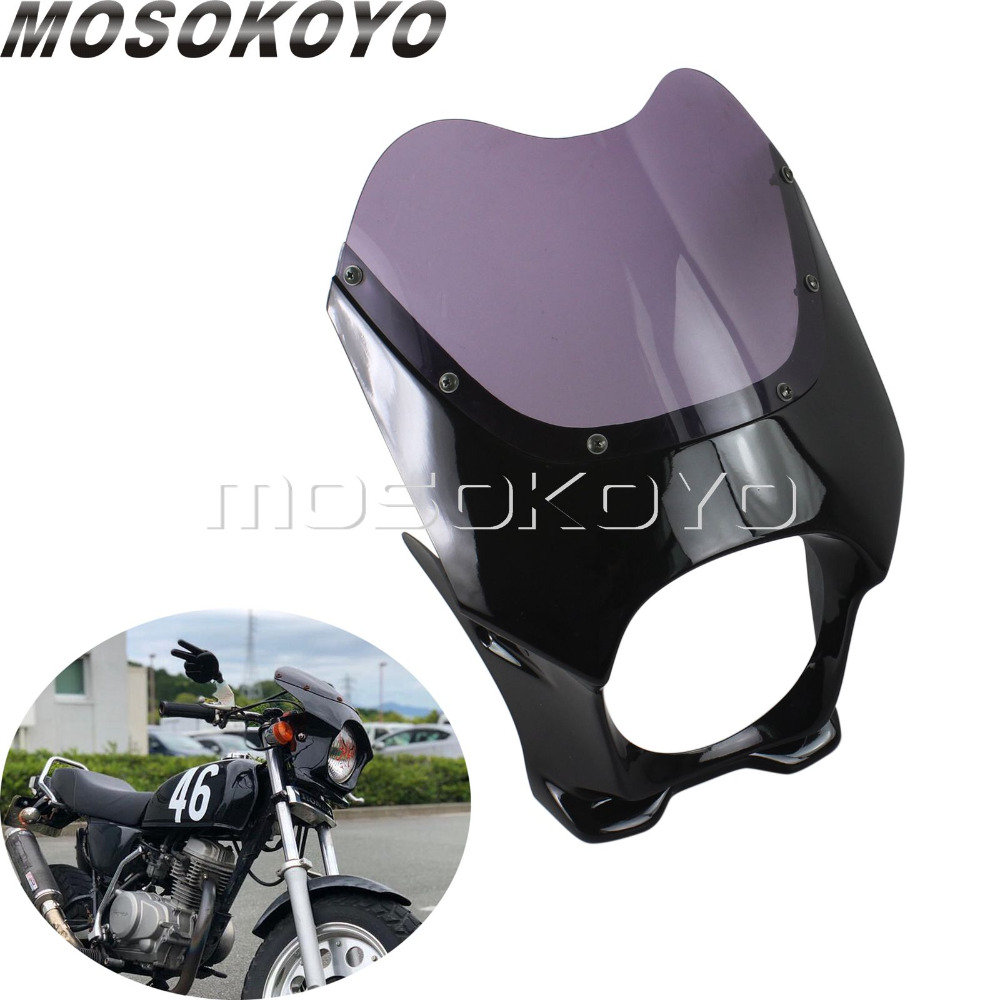 """Black Smoke 6"""" Cut Out Cafe Racer Headlight Fairing Front Cowl for Honda Suzuki Bandit 400 Honda Nightflight Street Bike-in Covers & Ornamental Mouldings from Automobiles & Motorcycles on AliExpress - 11.11_Double 11_Singles' Day 1"""