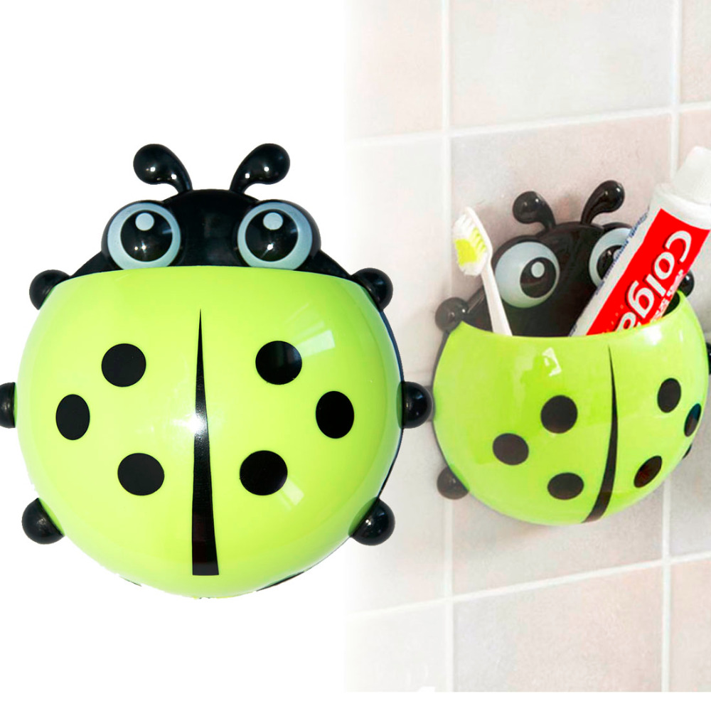 Best Sale Ladybug Cartoon Suction Bathroom Accessories Products Wall Mounted Toothbrush Holder Suction Cup image