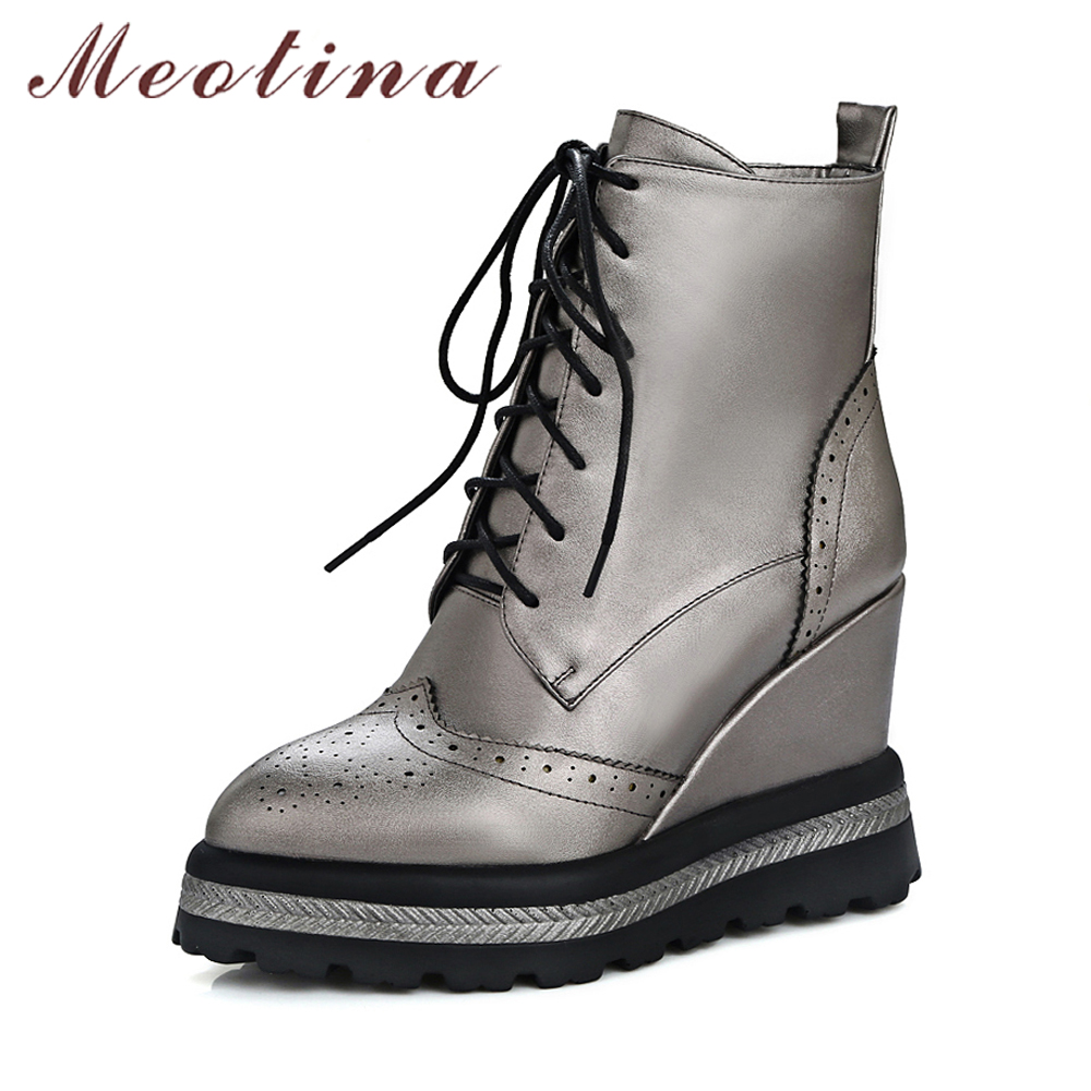 Meotina Women Ankle Boots Platform High Heels Pointed Toe Shoes Wedges Cutout Lace Up Punk Boots Ladies Winter Boots Size 33-42 kibbu lace up high heels women punk style ankle boots thick bottom platform shoes european motorcycle leather boots 6 colors