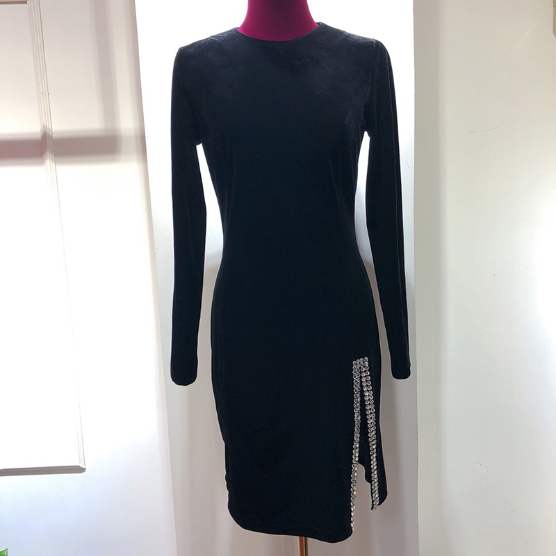 2018 Noir Automne Robe Haute Femmes Split Sexy Qualité Chaud Haut Hiver Robes De FxTwqFpBA