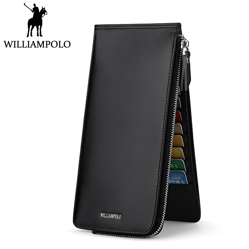 Williampolo Business Credit Card Holder Wallet Men Genuine Leather Card Wallet Long Male's Gift Luxury Brand Cowhide Phone Case fashion solid pu leather credit card holder slim wallet men luxury brand design business card organizer id holder case no zipper