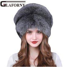 Glaforny 2018 moda de plata de la piel de Fox sombrero de las mujeres de  invierno de piel de zorro sombreros mujer Real de piel . 6d0796aa448