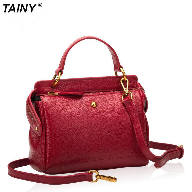 TAINY 2017 New Tainy Genuine Leather Cow Leather Casual Women Totes Handbags & Crossbody Bags 22CM