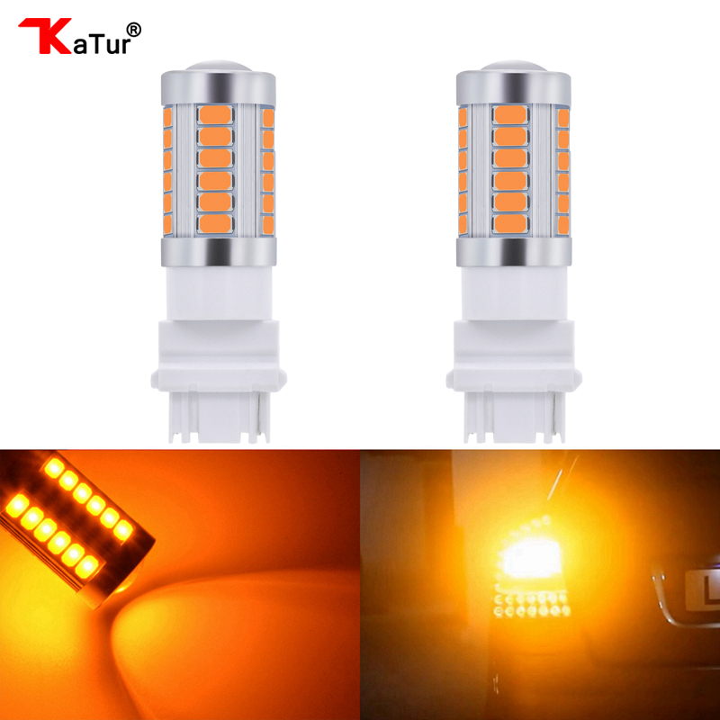 Katur 2pcs T25 3156 LED Bulbs For Cars Turn Signal Lights Amber/Orange Lighting White Red Blue 5630 33SMD Parking Led Lamps