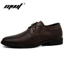Más el tamaño 38-47 Zapatos de Cuero Genuinos de Los Hombres de Oxford Transpirable Hueco-Hacia fuera Los Zapatos de Vestir de Negocios Zapatos de Los Hombres de Verano Zapatos formales