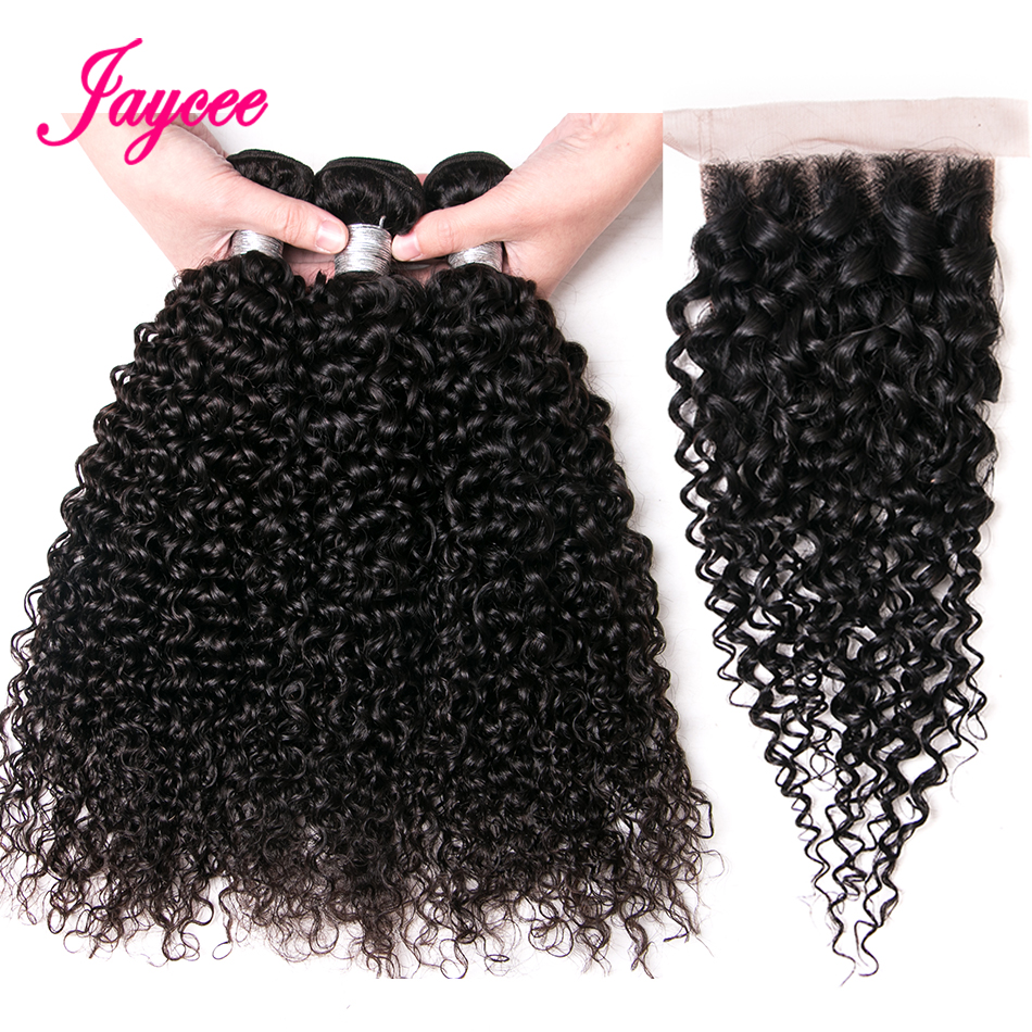 Jaycee Brazilian Kinky Curly Bundles With Closure 4pcs Brazilian Curly Hair With Closure Cheap Human Hair Bundles With Closure