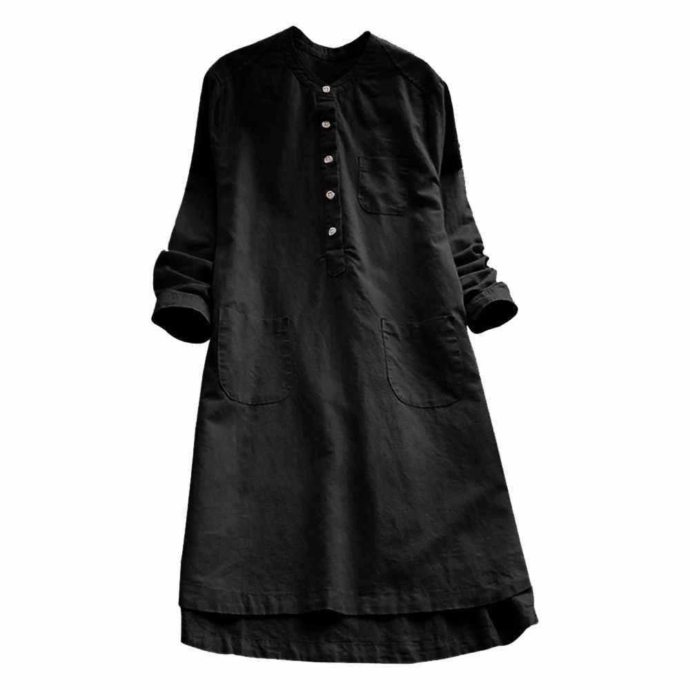 Женский для женщин платья для ретро роковой с длинным рукавом повседневное свободные Кнопка Блузка мини платье рубашк