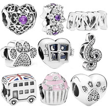 Simple Style Window MOM Cake Footprint Love Beads Fit Original Pandora Charm Bracelets Necklaces Women DIY Making Jewelry(China)