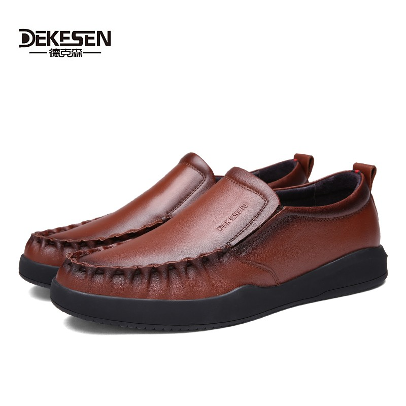 ФОТО Men Genuine Leather Shoes 2017 new Male's Soft Flats Casual Shoes British Style Loafers Footwear mocassim masculino