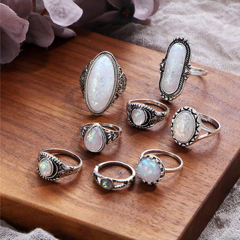Boako 8 pçs do vintage grande natural pedra opala knuckle escudo anéis conjunto para mulheres boêmio antigo prata cor anéis moda jóias