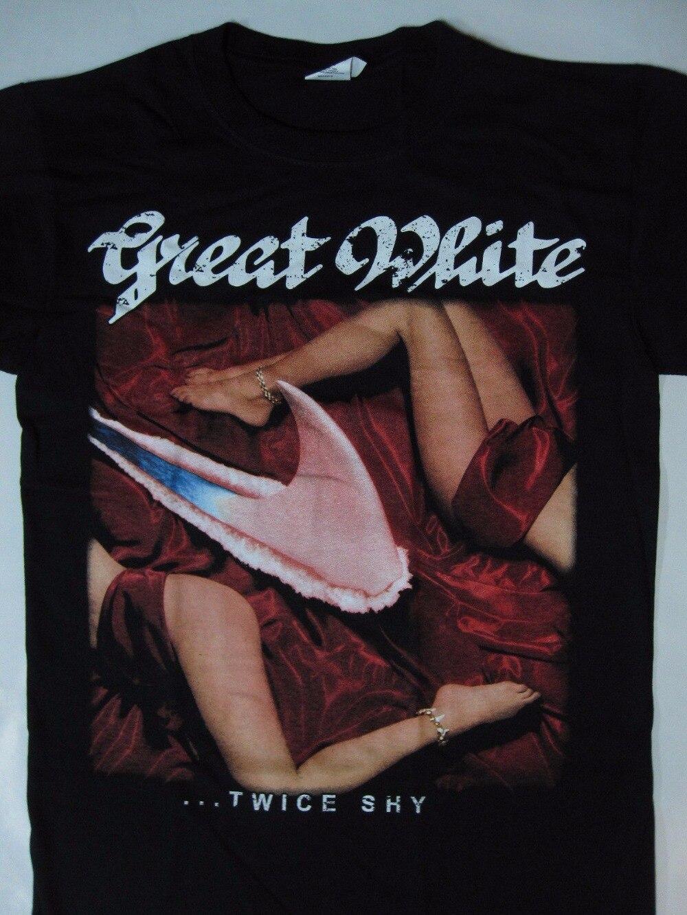 T Shirt Design Website Fashion Great White Twice Shy Tour 89 T-Shirt Short O-Neck T Shirts For Men