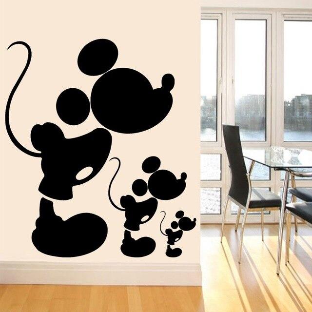 웃 유mignon Vinyle Sticker Noir Mickey Mouse Stickers Muraux Pour