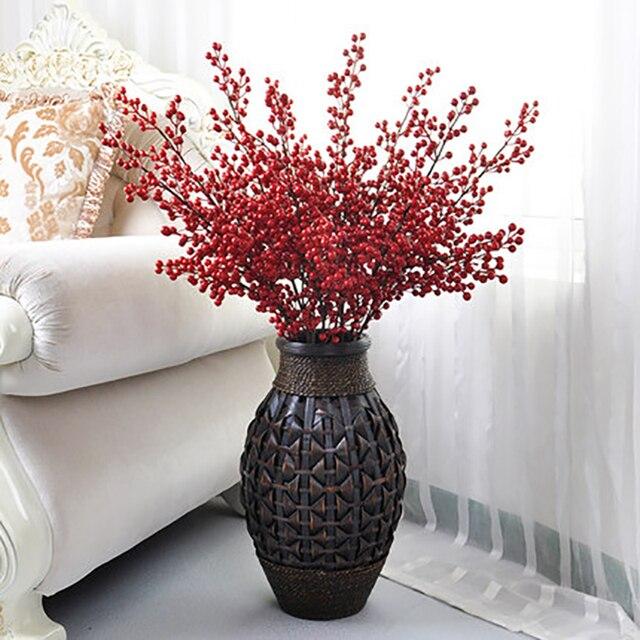Bekend 3 stks Rode Haw Bessen Meidoorn 105 cm Lange Kunstbloem Grote  JJ77
