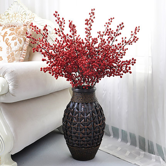 3pcs Red Haw Berries Hawthorn 105cm Long Artificial Flower Large Bamboo Vase 70cm Wedding Home Office Decoration Fake Flowers