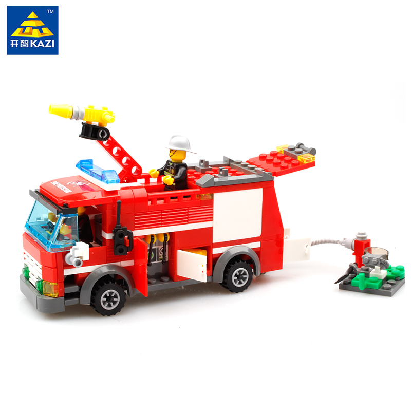 KAZI City Fire Truck Building Blocks Small Particles DIY Action Figure Toys Bricks Block Set Toy Gift Compatible With Legoe kazi toys 143pcs firefighting cew building blocks compatible legoe city diy bricks fire assembled toy fire truck toys for kids