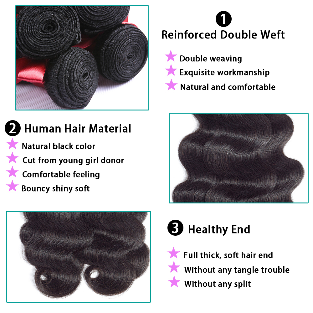 ☼  AllRun Бразильские Пучки Плетения Волос С Закрытием Объемная Волна Закрытие Кружева С Пучками
