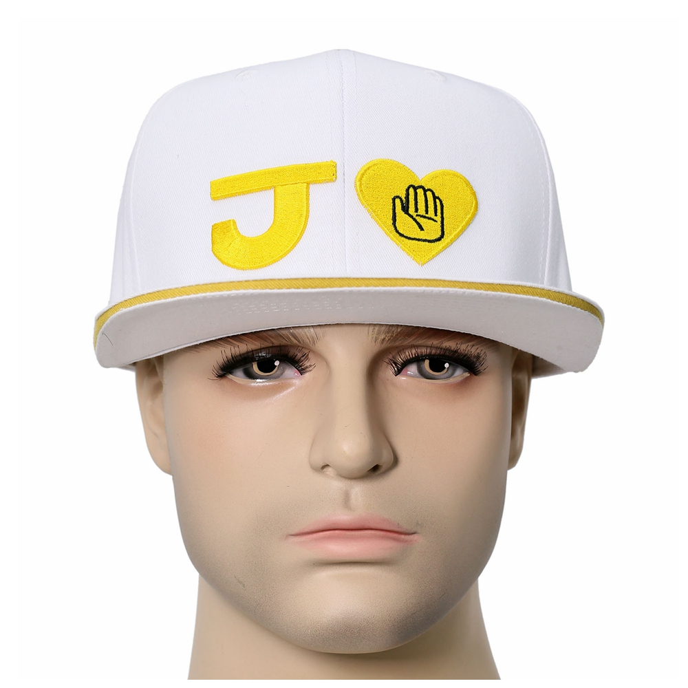 X-COSTUME Anime JoJo's Bizarre Adventure Baseball Peak Cap Cosplay Hats Holiday Casual Hat White Cap Costume Accessories