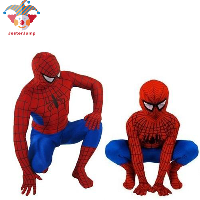 Purim Red Spiderman Costume Halloween Party Spider Man Suit Spider-man Costumes Adults Children Kids Spider-Man Cosplay Clothing