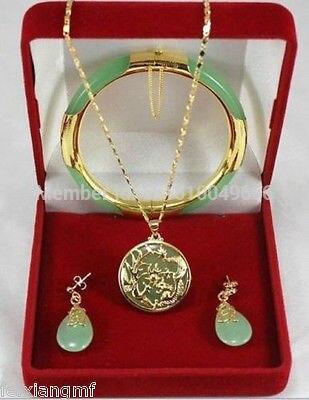 Offre spéciale livraison gratuite>>> charmant Dragon pierre verte Phoenix pendentifs collier boucle d'oreille bracelet ensemble