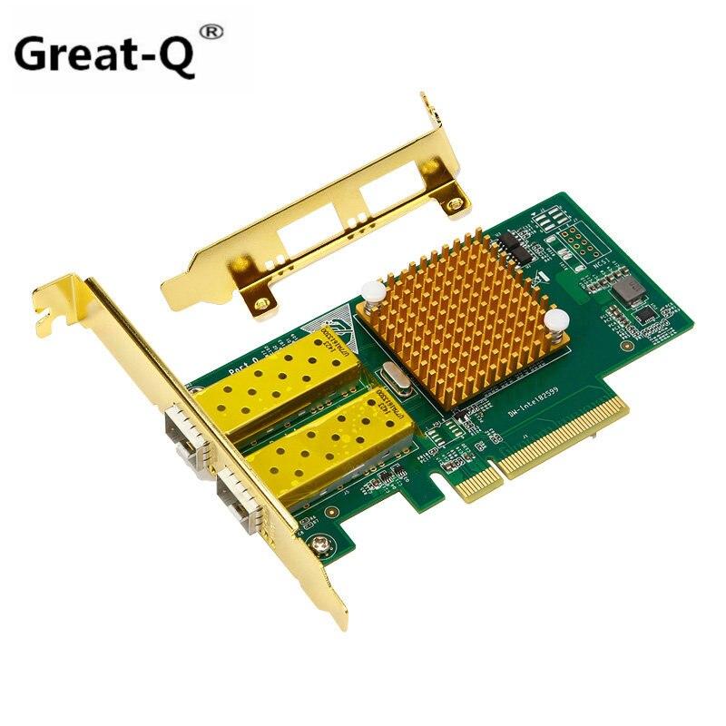 Grand-Q 10gbps pci express gigabit ethernet carte réseau fibre Double port LAN pour INTEL X520 82599ES
