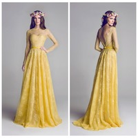 2015 New Fashion Vestidos High Neck Sheer Lace Long Yellow Bridesmaid Dresses Long Sleeve Sexy Open Back Wedding Party Dress