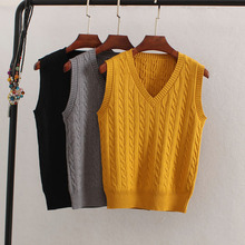 Korean Wool Sweater Vest Spring Autumn Women V-Neck Knitted Female Casual Tank tops Tees Sleeveless Twist Knit Pullovers