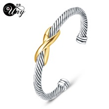 UNY Bangle Twisted Cable Wire Bracelet Antique Bangles Cross Fashion Designer Brand Vintage Christmas Gifts Womens Cuff Bracelet
