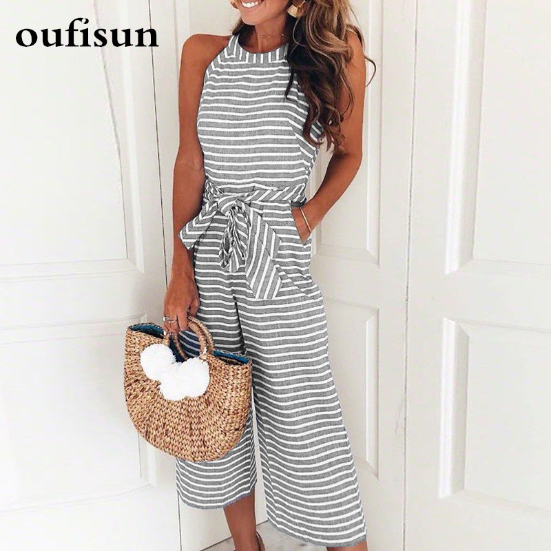 Oufisun Stripe Women Jumpsuits Sexy Sleeveless Casual Sashes Rompers Back Zipper Belt Wide Leg Pants Playsuits Overalls 2018 New