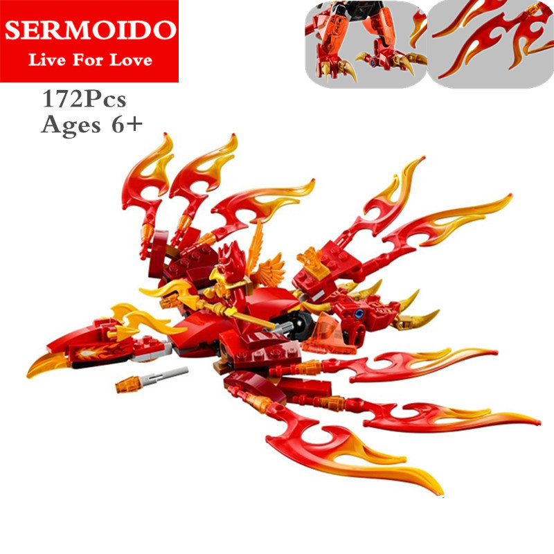 SERMOIDO Chima Phoenix Three Head Fiery Dragon VS Sky Pirate Building Blocks Ninja Kai Sqiffy Compatible With Lepine Toys B66
