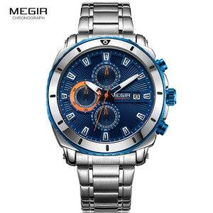 Image 3 - MEGIR relojes de cuarzo con cronógrafo para hombre, esfera azul, de pulsera, análogo, de acero inoxidable, a la moda, manecillas luminosas, 2075G 2