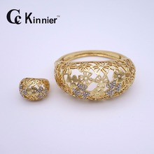 Dubai Retro crystal African wedding is full of gold jewelry sets 24K gold-color jewelry pearls classic dress Ring Bracelet